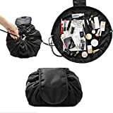 Travel Cosmetic Bag Toiletry Bag Portable Drawstrings bag Makeup Organizer Waterproof Storage Pouch Bag with Drawstrings for Women Quick Pack by AENMIL(Black)