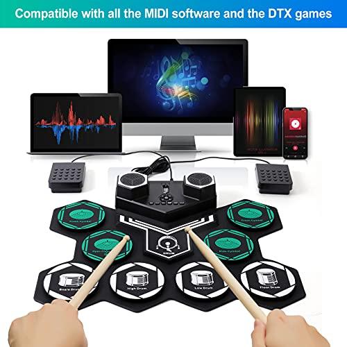 Elektronisches Schlagzeug Kit Unterstützt DTX-Spiel Hand Roll-Up Drum Kit 9 Silikon-Trommelkissen Eingebauter Stereo-lautsprecher Bluetooth, MIDI, für Kinder Anfänger