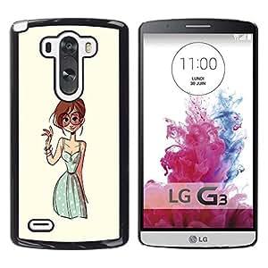 Gafas Chica Pintura Dibujo Moda - Metal de aluminio y de plástico duro Caja del teléfono - Negro - LG G3