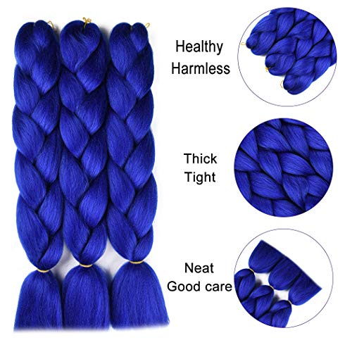 Jumbo Braiding Hair Extension Synthetic Kanekalon High Temperature Fiber Crochet Twist Braids Hair With Small Free Gifts 24inch 3pcs/lot(Royal -
