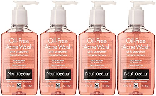 Neutrogena Oil-Free Acne Wash Facial Cleanser, Pink Grapefruit, 6 Ounce (Pack of 4)