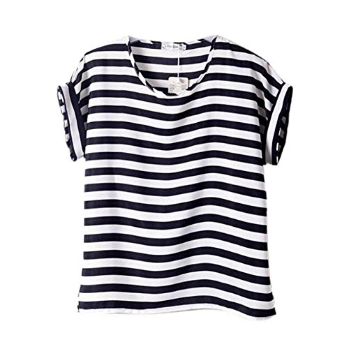 Price comparison product image ROPALIA Ladies Girl summer Chiffon Loose Blouse stripes Print T-shirts Tops UsM