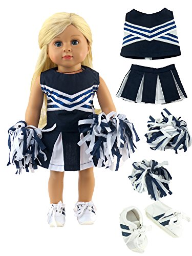 Navy Blue Cheerleader With Pom Poms and Tennis Shoes -Fits 18