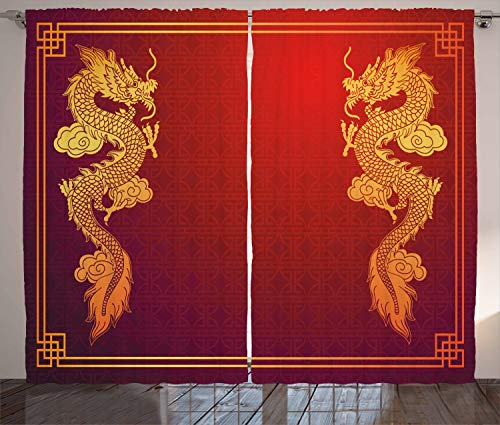 Ambesonne Dragon Curtains, Chinese Heritage Historical Eastern Motif with Creature Design, Living Room Bedroom Window Drapes 2 Panel Set, 108 W X 108 L Inches, Orange Yellow]()