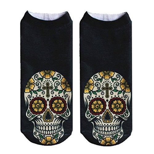 Yellow Sunflower Printed Skull No Show Runner Socks for Women Girls