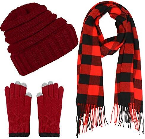 Aneco Winter Warm Strickschal Beanie Mütze und Handschuhe Set Herren & Damen Soft Stretch Mütze Schal und Handschuh Se