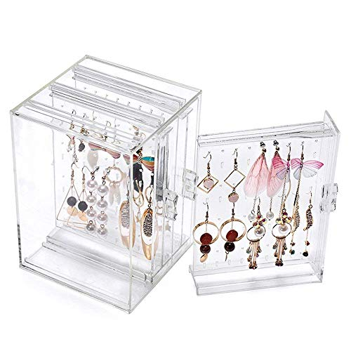 Display Box, Gosear Earring Stand 218 Holes Plastic Earring Display Stand Case Organizer Holder Jewelry Storage Box with 3 Vertical Drawer ()