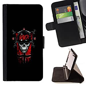 For Samsung Galaxy A3 Slayer Dark Goth Skull Style PU Leather Case Wallet Flip Stand Flap Closure Cover