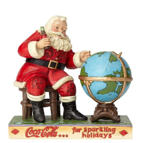 (Enesco 6.4 Inches Height x 4.2 Inches Width x 6.7 Inches Length Coca Cola Santa and Globe Collectible Figurine)