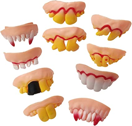 10Pcs  Ugly Fake Teeth Toy Party Funny Gift Costume Party Jokes Fun Pranks HOT