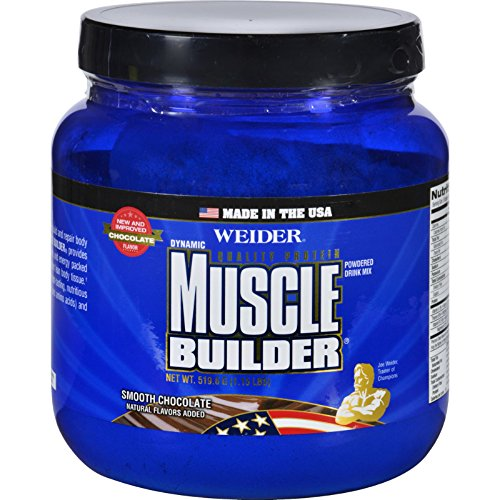 Weider Global Nutrition Muscle Builder - Dynamic - Powder - Chocolate - 1.15 lb, Sports and Fitness, Muscle Building Gluten Free Wheat Free -