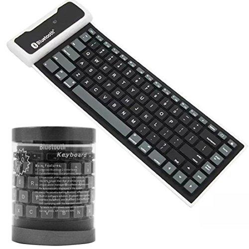 Cywulin Bluetooth Wireless Waterproof Silicone Keyboard For iPad 2 3 4 Mini iPad Air Samsung Galaxy Tab or computer (Win OS 2000, Server 2003, XP, Vista). (black) by Cywulin