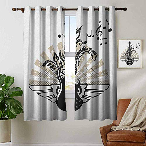 (petpany Living Room Curtains Guitar,Geometrical Elements Stripes Swirls Dots Lines and Musical Notes Rock and Roll, Tan Black White,Adjustable Tie Up Shade Rod Pocket Curtain 42