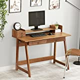Bamboo Computer Desk, LITTLE TREE PC Laptop Study Table Office Desk Workstation with Riser and Drawers for Small Spaces