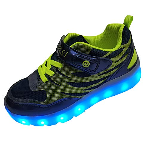 DAYATA Led Light Up Shoes for Kids Boys Girls Children's Fashion Luminous Sneakers (US 5, Dark Navy) -