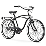 sixthreezero Around The Block Men's 3-Speed Beach Cruiser Bicycle, 24' Wheels, Matte Black, 15'/One Size