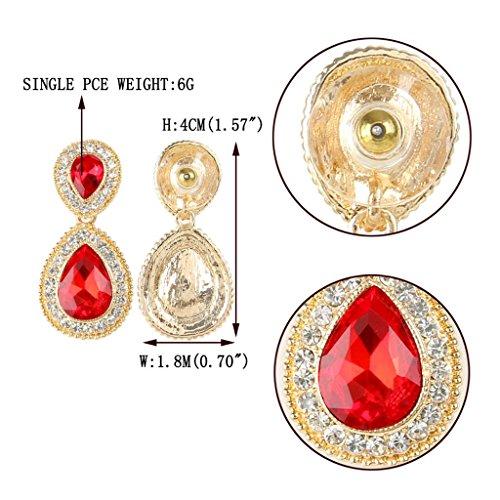 EVER FAITH® Ton Or Elégant Cristal Autrichien Goutte d'Eau Boucle d'Oreilles Bal Soirée Rouge