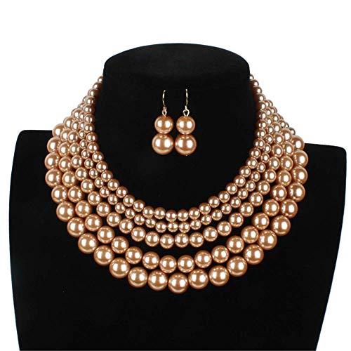 (Lanue Women Elegant Jewelry Set Multi Strand 5 Layer Pearl Bead Cluster Collar Bib Choker Necklace and Earrings Suit (Coffee))