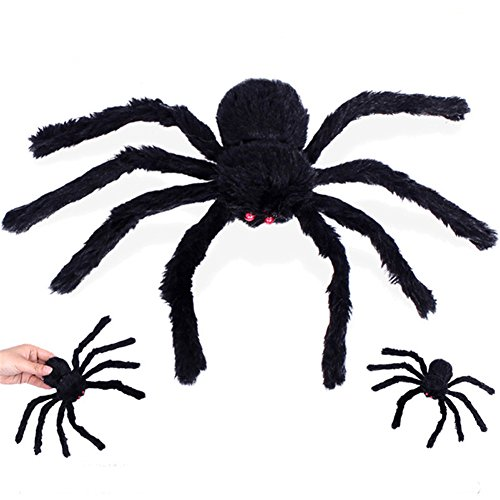 Abbyfrank Halloween 30CM Fake Spider Halloween Horror Furry Black Colorful Spider For Event Party Supplies Horrible Halloween Decoration (Black)