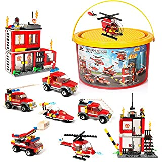 Building Blocks Fire Station City Coastline Emergency Rescue Team, 1000 Pcs 9 Models, Exercise N Play Creative DIY Consturction Toys for Boys Girls Toy Bucket