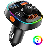 FM Transmitter for Car Bluetooth 5.0, TEUMI 7 Color Ambient Light QC3.0 Car Charger(Dual USB), Siri & Google Voice Assistant Wireless Hands-Free Bluetooth Car Kit, Support U Disk/TF Card