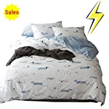 Soft Twin Duvet Cover Sets White Blue for Kids Boys Girls Domitory with Cartoon Puppy Dog Print Zipper Ties, Children Bedding Set Gifts 100% Cotton, Cute Reversible Hypoallergenic Lightweight Bed Sets
