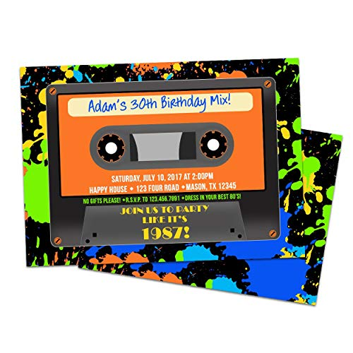 Cassette Invitations Neon Retro 80s Party Birthday Engagement -