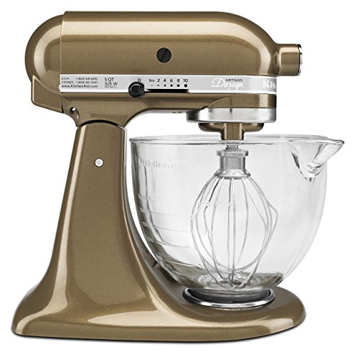 (KitchenAid KSM155GBTF Artisan Design Series with Glass Bowl, 5 quart, Toffee)