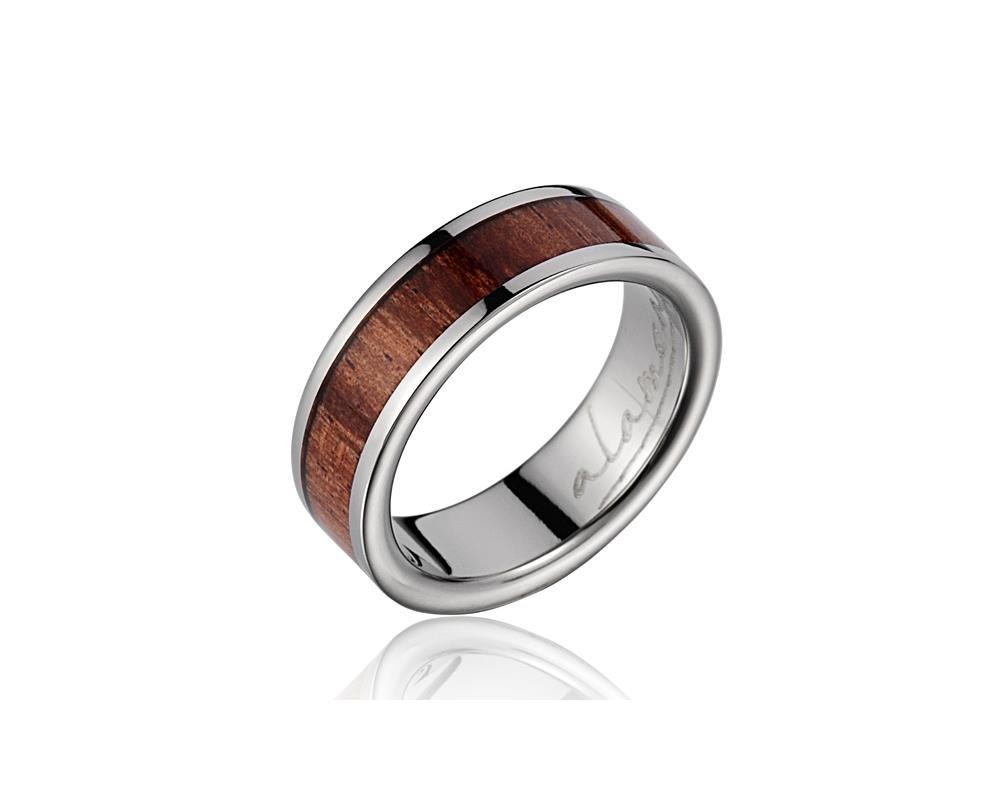 Genuine inlay Hawaiian koa wood wedding band ring titanium 6mm size 6