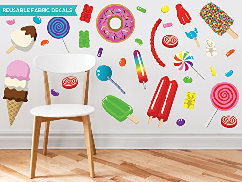 Candy Fabric Wall Decals - Jumbo Sized - Jelly Beans, Gummy Bears, Red Vines, Donut, Popsicles, Lollipops, Ice Cream and More