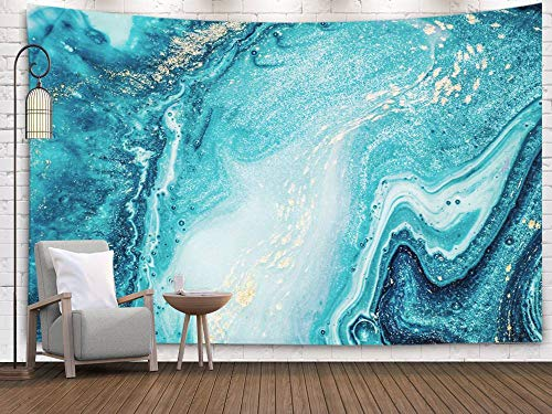 Pamime Abstract Tapestry, Home Décor Abstract Ocean Art Natural Luxury Style The Swirls Marble Ripples Very Beautiful Blue Wall Hanging Tapestries Bedroom Living Room 60x50 Inches(150x130cm) InHouse (Tapestry China Blue)