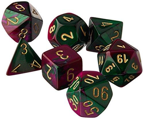 Chessex CHX26434 Dice-Gemini Set, One Size, Green/Purple/Gold -