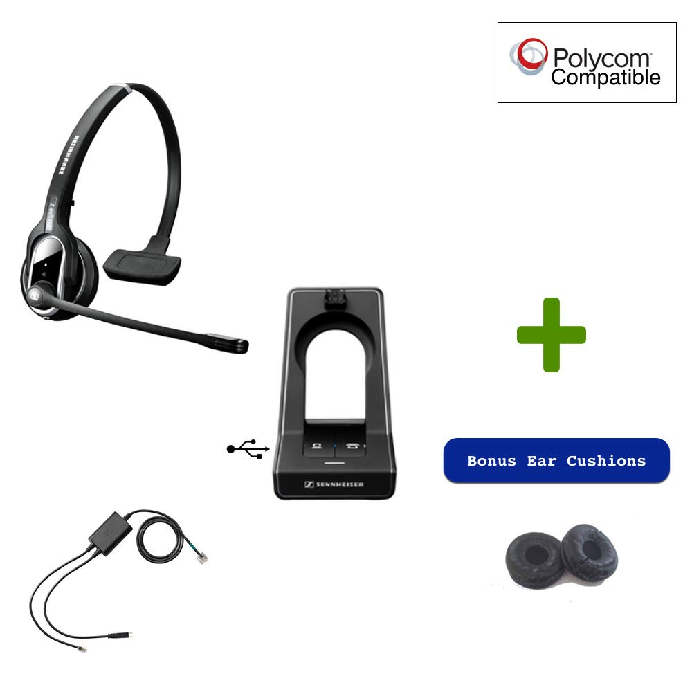 Sennheiser SD PRO1 - Cordless Headset for PC/MAC with Polycom Remote Answering Included | SoundPoint Phones: IP 335, IP 430/450, IP 550/560, IP 650/670, VVX 101, VVX 201, VVX300s, VVX400s, VVX500