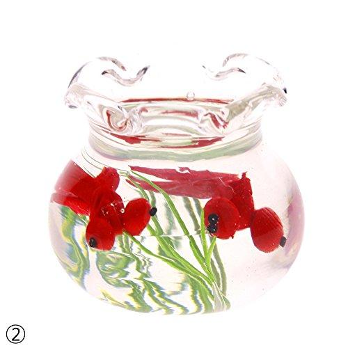WXLAA 1/12 Dollhouse Miniature Glass Fish Tank Transparent Aquarium Ornaments Red
