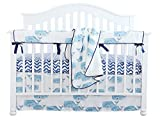 Sahaler Baby Crib Bedding Set for Boys | 4 Pieces Set of Whale Nursery Bedding | Baby Blanket & Fitted Crib Sheets & Skirt & Rail Cover - Whale