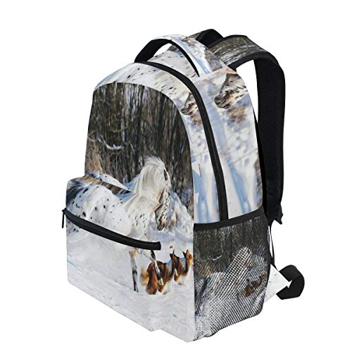 KVMV Legendary Appaloosa Pony and Sable Border Collie Runs Gallop in Winter Photo Print Lightweight School Backpack Students College Bag Travel Hiking Camping Bags