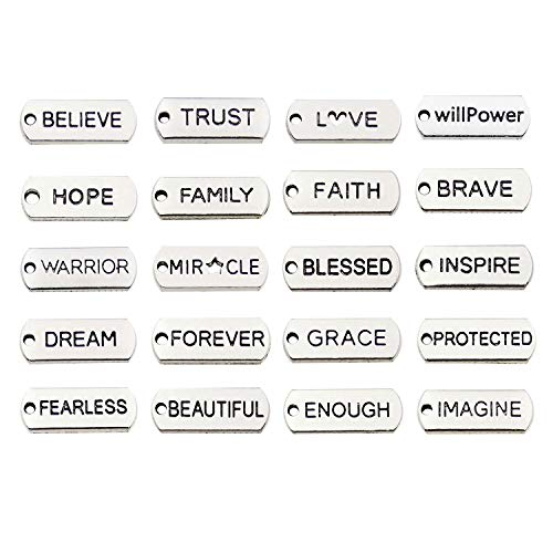 WOCRAFT 40pcs Inspiration Words Charms Craft Supplies Beads Charms Pendants for Crafting, Jewelry Findings Making Accessory for DIY Necklace Bracelet M334