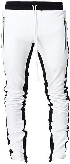 Candiyer ジップストラウザーズスポーツステッチ弾性ウエストジョガーパンツを持つ男性