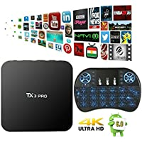 MaQue TX3 Pro Android 6.0 TV Box Amlogic S905X Marshmallow Quad Core 3D 4K HD WiFi Google Smart TV Box 1GB 8GB with Free Wireless Mini Backlit Keyboard