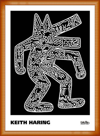 ポスター キース ヘリング Dog 1985 額装品 ウッドベーシックフレーム(オレンジ) B0721K4GLQ オレンジ オレンジ