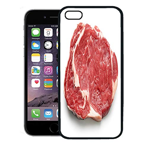 (Semtomn Phone Case for iPhone 8 Plus case,Red Meat Fresh Raw Beef Steak Top View White Entrecote Sirloin Cow iPhone 7 Plus case Cover,Black)