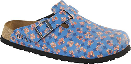 Papillio Boston Birko-Flor Floral Circles Blue - Damen Clogs