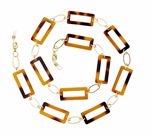 Beaded Eyeglass Chain Holder, Gold Fashion Lanyard Necklace, Jane - Tortoise Shell
