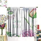 Warm Family Window Curtain 2 Panel Watercolor Greeting Card Save The Date Drapes