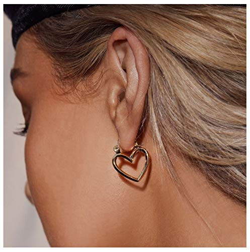 Gold Heart Earrings 18K Gold Plated Heart Hoop Earrings Valentine Mother's Day Birthday Gifts for Women