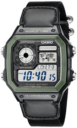 10 Atm Date Watch - Casio Men's AE1200WHB-1BV Black Resin Watch with Ten-Year Battery