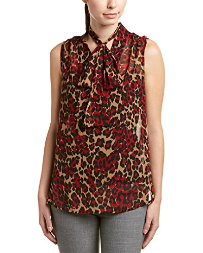 Anne Klein Women's Animal Print Tie Front Sleeveless Blouse, titian Red/Tangier Combo, XS (Print Blouse Klein Anne)