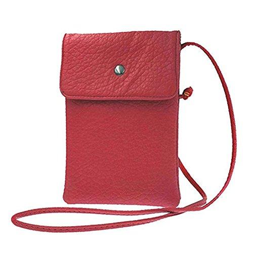 Donalworld Femmes Mini Double Couche Téléphone Sac en cuir Sac à bandoulière Mobile Pochette rouge rouge