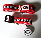 Georgia University Bulldogs Pet Set Dog Leash Collar ID Tag LARGE