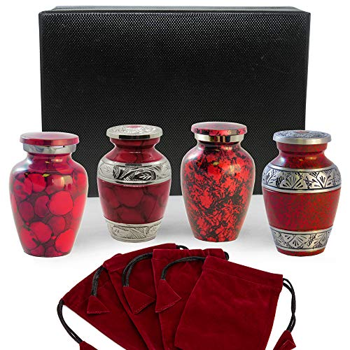 Celebration of Life Red Small Mini Keepsake Urns for Human Ashes - Set of 4 -Share Your Love with These Comforting Quality Keepsake Urns - A Tribute to Your Loved One - w Case and 4 Pouches